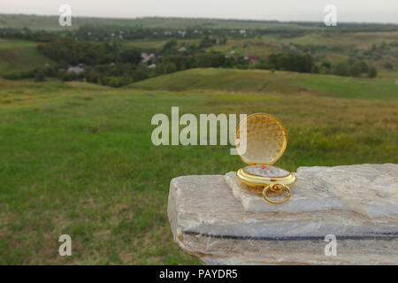 compass gold concept choosing directions where to go on a background of grass hill countryside - Stock Photo