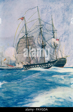 A Man-o-War in Nelson's day.  From The Book of Ships, published c.1920. - Stock Photo