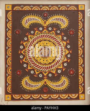 Traditional mural mud work of Gujarat - India, Clay art for wall decoration Traditional Indian Clay art for Home Decor and wall decor. - Stock Photo