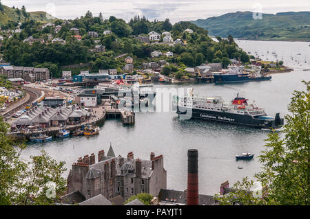MacBrayne car ferries in Oban harbour Argyll. Scotland. - Stock Photo