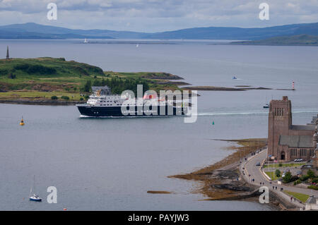 The Clansman car ferry approaching Oban harbour Argyll. Scotland. - Stock Photo