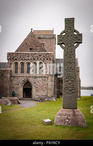 The island of Iona. Argyll.The Abbey and  St Martins Cross. Scotland. - Stock Photo