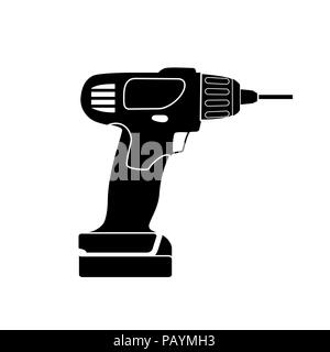 Screw Gun Icon. Impact wrench or screwgun vector. Electric screwdriver symbol. Blank and white - Stock Photo