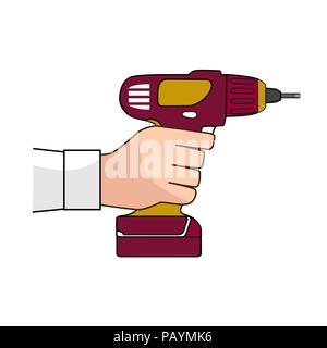 Screw Gun Icon. Human hand with impact wrench or screwgun vector. Electric screwdriver in male hand. Blank and white - Stock Photo
