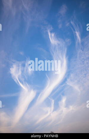 Attractive cirrus clouds forming abstract patterns in the sky above Wiltshire UK - Stock Photo
