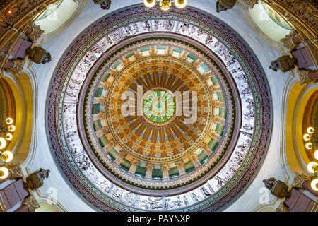 SPRINGFIELD, ILLINOIS - JULY 11, 2018 - View of the interior of Illinois State Capitol - Stock Photo