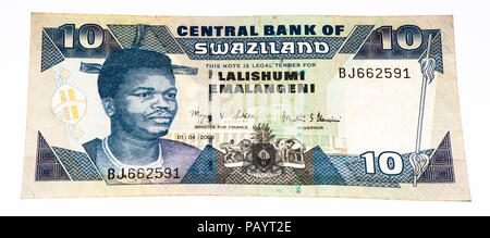 10 Swazi emalangeni bank note. Swazi emalangeni is the currency of Swaziland - Stock Photo