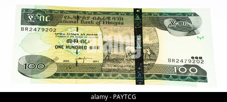 100 Ethiopian birr bank note. Birr is the national currency of Ethiopia - Stock Photo