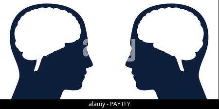 Two heads with brain silhouette facing each other. Symbol for same or different kind of thoughts, intelligence or communication, for thought-reading. - Stock Photo