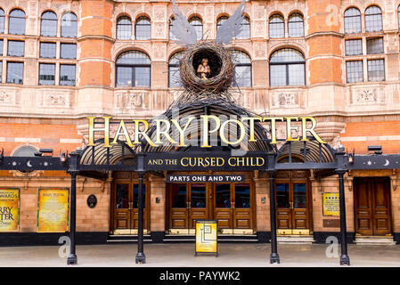 London, Palace Theatre decorated for the current show Harry Potter And The Cursed Child. London, UK - Stock Photo