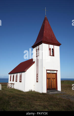 Iceland - old small wooden church in Hellnar, Snaefellsnes peninsula. Beautiful landmark. - Stock Photo