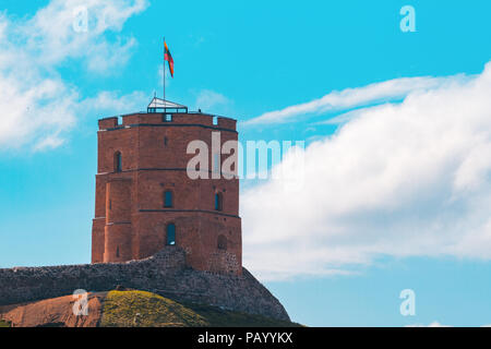 Tower of Gediminas, symbol of Vilnius, Lithuania. - Stock Photo