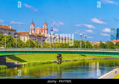 Vilnius City View with Neris river, Green Bridge in Vilnius, Lithuania, Europe - Stock Photo