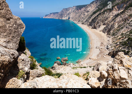 View from above to an untouchable beach of an island in Ionian sea - Stock Photo