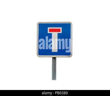 Dead end traffic sign on the white background