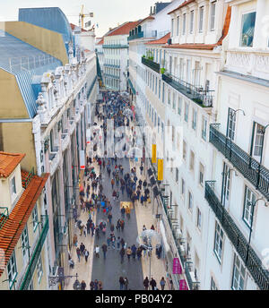 LISBON, PORTUGAL - DECEMBER 08, 2016: View from the top of Santa Justa elevator of Rua do Carmo shopping street in Lisbon with people walking along th - Stock Photo