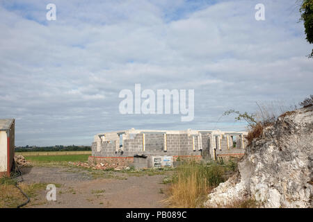 July 2018 - New home under construction in rural Somerset, England - Stock Photo