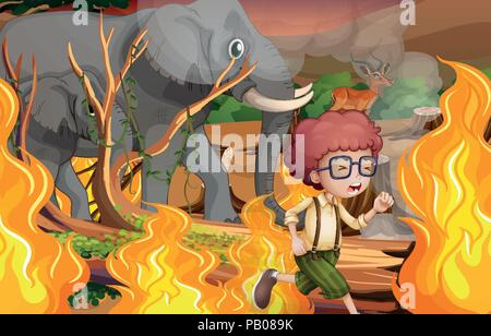 A boy and wild animals run away from wildfire illustration - Stock Photo