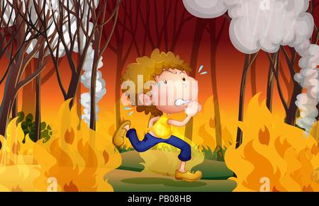A young man run away from wildfire illustration - Stock Photo