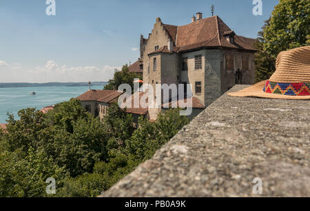 Sun hat on ancient medieval wall at Meersburg Castle, Meersburg,Germany. Concept for tourism - Stock Photo
