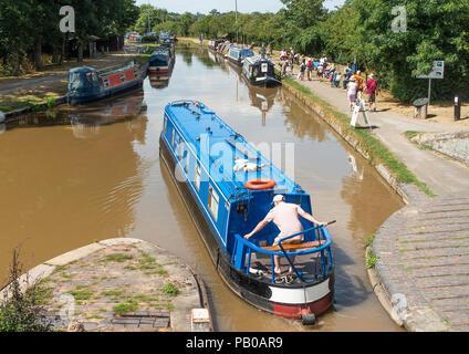 A Narrow Boat Navigating the Shropshire Union Canal near Nantwich Marina in Cheshire England United Kingdom UK - Stock Photo