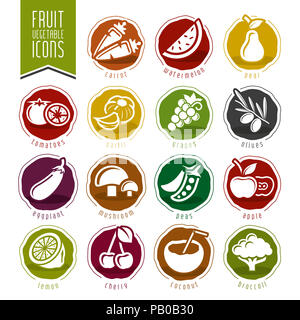 Fruit and Vegetable Icon Set - Stock Photo