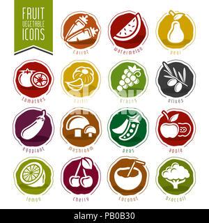 Fruit and Vegetable Icon Set - Stock Photo