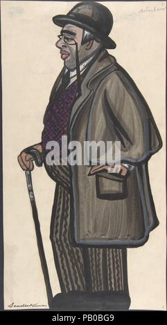 Man wearing a purple and red vest, with a pince-nez and bowler. Artist: Sergey Sudeykin (Russian, Smolensk 1882-1946 Nyack). Dimensions: sheet: 16 x 8 7/16 in. (40.6 x 21.4 cm). Date: first half 20th century. Museum: Metropolitan Museum of Art, New York, USA. - Stock Photo