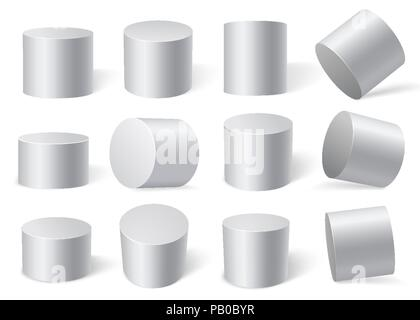 White cylinders on different angles. - Stock Photo