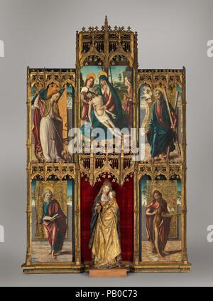 Virgin and Child with the Pietà and Saints. Artist: Spanish (Castilian) Painter (late 15th century). Dimensions: (a) 49 1/4 x 24 1/4 in. (125.1 x 61.5 cm); (b) 49 x 24 3/4 in. (124.5 x 62.9 cm); (c) 57 x 29 in. (144.8 x 73.7 cm); (d) 49 x 24 3/4 in. (124.5 x 62.9 cm); (e) 49 x 24 1/2 in. (124.5 x 62.2 cm). Museum: Metropolitan Museum of Art, New York, USA. - Stock Photo