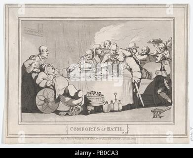 Comforts of Bath, Plate 11. Artist: Thomas Rowlandson (British, London 1757-1827 London). Dimensions: Sheet: 7 1/16 × 9 5/16 in. (18 × 23.7 cm). Publisher: Samuel William Fores (British, 1761-1838). Date: January 6, 1798. Museum: Metropolitan Museum of Art, New York, USA. - Stock Photo