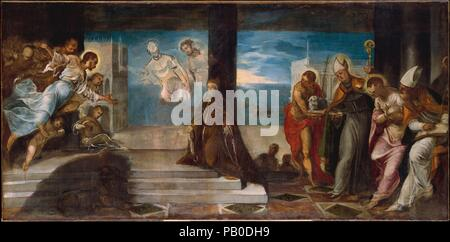 Doge Alvise Mocenigo (1507-1577) Presented to the Redeemer. Artist: Jacopo Tintoretto (Jacopo Robusti) (Italian, Venice 1518/19-1594 Venice). Dimensions: 38 1/4 x 78 in. (97.2 x 198.1 cm). Date: probably 1577.  This unfinished sketch records one stage of Tintoretto's preparation of a large votive painting of Doge Alvise Mocenigo destined for a room (the Sala del Collegio) in the Doge's Palace in Venice. Mocenigo ruled at the time of Venice's great victory at sea over the Turks, the Battle at Lepanto of 1571, represented in the sketch by the ships in the background, and during the ferocious pla - Stock Photo