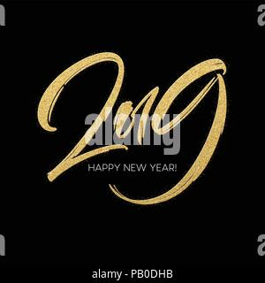 Golden glitter paint lettering calligraphy of 2019 Happy New Year on black background. Vector illustration - Stock Photo