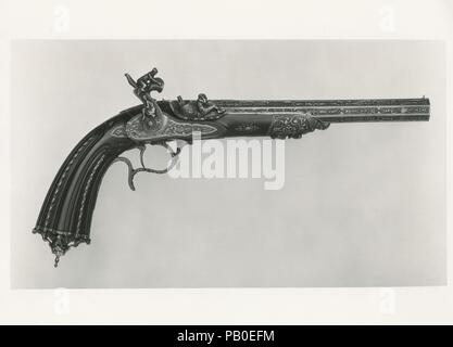 Percussion Pistol with Case. Culture: French, Paris. Dimensions: L. of pistol 16 7/8 in. (42.9 cm); Cal. .44 in. (11.2 mm); Wt. 3 lb. 4 oz. (1474 g). Gunsmith: Alfred Gauvain (French, Paris 1801-1889 Paris). Date: possibly 1844.  This pistol may have been exhibited at the Exposition Universelle in 1855 in Paris, where Gauvain received a medal of honor for several pistols. Gauvain also showed decorated pistols at the international exhibitions held in London in 1849 and 1851. Museum: Metropolitan Museum of Art, New York, USA. - Stock Photo