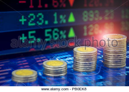 Uptrend stacks golden coins, Golden coins on financial stock charts as background. Selective focus - Stock Photo