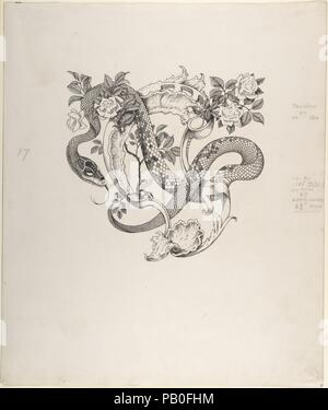 Unused Tailpiece Design, The Duchess of Malfi. Artist: Henry Weston Keen (British, 1899-1935 Walberswick, Suffolk). Author: John Webster (British, ca. 1580-ca. 1634). Dimensions: sheet: 17 1/8 x 14 1/2 in. (43.5 x 36.8 cm). Date: ca. 1930.  Keen worked as a printmaker and illustrator in the 1920s and 1930s, creating unsettling symbolist images reminiscent of Aubrey Beardsley. Two significant commissions were designs for luxury editions published by The Bodley Head-a firm that had launched Beardsley in the 1890s-Oscar Wilde's 'Picture of Dorian Gray' (1925) and John Webster's 'The White Devil a - Stock Photo
