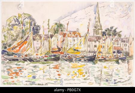 Le Pouliguen: Fishing Boats. Artist: Paul Signac (French, Paris 1863-1935 Paris). Dimensions: 10 13/16 x 17 1/16 in.  (27.5 x 43.3 cm). Date: 1928.  Although Paul Signac never abandoned Neo-Impressionist principles, he found that watercolor painting offered a welcome alternative to the labored application of the Neo-Impressionist technique. Especially in later years, spent sailing the waters of coastal France, Signac discovered that a pencil and a box of watercolors were sufficient tools to record the dazzling harbors along the way. The fishing port Le Pouliguen, on the southern coast of Britt - Stock Photo
