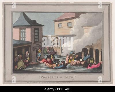 Comforts of Bath, Plate 7. Artist: Thomas Rowlandson (British, London 1757-1827 London). Dimensions: Sheet: 7 1/8 × 9 1/2 in. (18.1 × 24.2 cm). Publisher: Samuel William Fores (British, 1761-1838). Series/Portfolio: Comforts of Bath. Date: January 6, 1798. Museum: Metropolitan Museum of Art, New York, USA. - Stock Photo