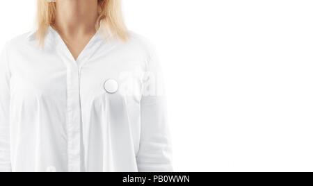 Blank white round silver lapel badge mockup on woman chest. Empty hard enamel pin mock up wear on shirt. Metal clasp-pin medal design template. Expens - Stock Photo