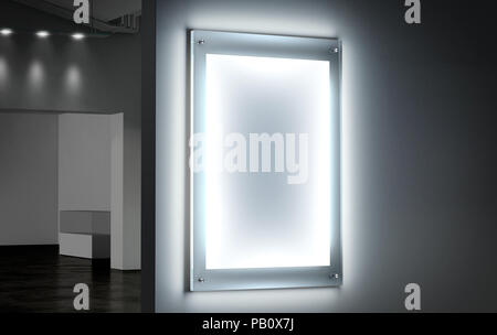 Blank white illuminated poster mockup in dark hall, 3d rendering. Clear glowing affiche design mock up mounted on gallery wall. Led acrylic billboard  - Stock Photo