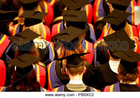 Embargoed to 0001 Thursday July 26 File photo dated 19/10/15 of a graduation ceremony. Soaring numbers of teenagers are being given guaranteed degree places, sparking warnings that the credibility of the university system is being undermined and students' futures put at risk. - Stock Photo