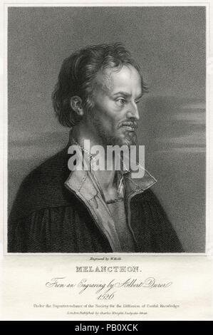 Philip Melanchthon (1497-1560), German Lutheran Reformer, Collaborator with Martin Luther, the first systematic theologian of the Protestant Reformation and intellectual leader of the Lutheran Reformation, Head and Shoulders Portrait, Engraving, 1861 - Stock Photo