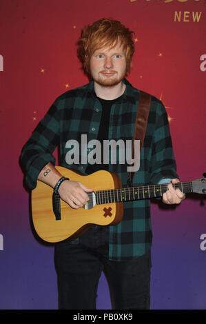 NEW YORK, NY - MAY 28: Singer/songwriter Ed Sheeran unveils new wax figure at Madame Tussauds on May 28, 2015 in New York City   People:  Ed Sheeran - Stock Photo