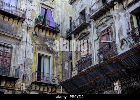 Old houses in Palermo, Sicily, Italy - Stock Photo