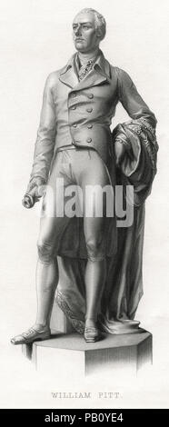 William Pitt the Younger (1759-1806), British Statesman and Youngest Prime Minister, Engraving - Stock Photo