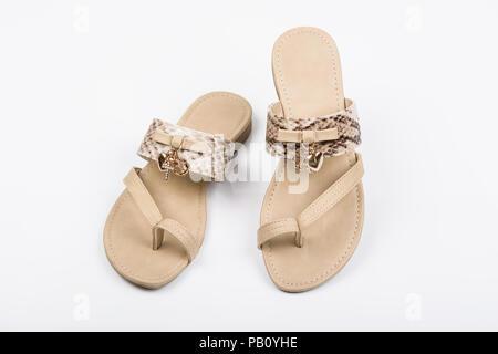 Women's sandals on white background. Summer fashion.