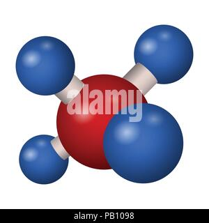 Chemical formula of methane. 3D model molecule CH4 . Vector illustration. - Stock Photo