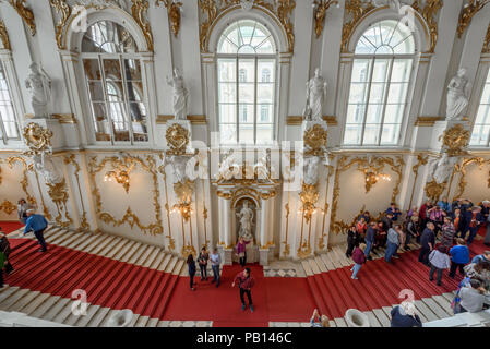 Main stairs in the entrance of the Hermitage. Winter Palace, St. Petersburg, Russia. - Stock Photo