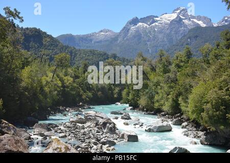 Rio Blanco, Hornopiren, Carretera Austral, Patagonia, Chile - Stock Photo