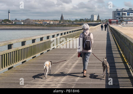 Calais, France - 19 June 2018: Woman with two dogs walking on the west jetty in the summertime. - Stock Photo